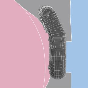 前屈構造で振動部がしっかり当たる!